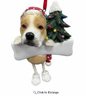 Pit Bull Christmas Tree Ornament - Personalize (Tan and White)