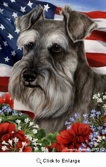 Schnauzer House Flag Grey Uncropped