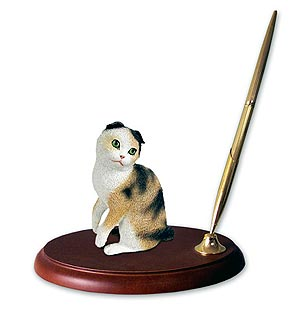 Scottish Fold Cat Pen Holder (Tortoise)