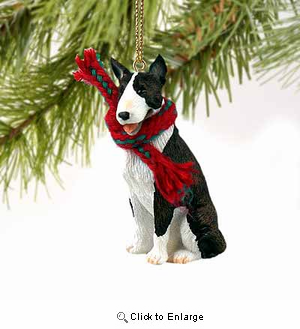 Bull Terrier Tiny One Christmas Ornament Brindle