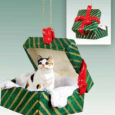 Calico Cat Gift Box Christmas Ornament Calico Shorthaired