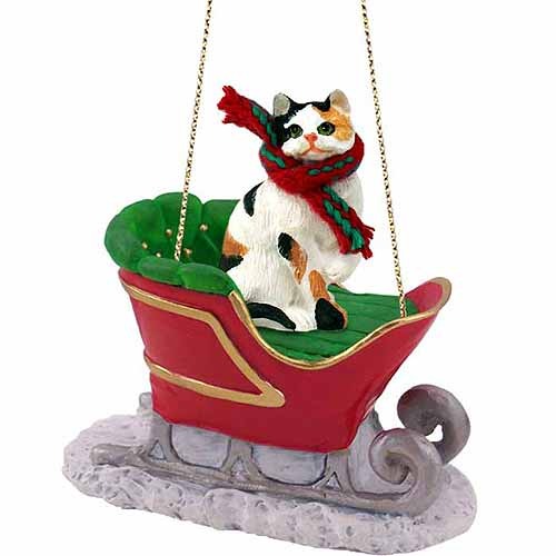 Calico Cat Sleigh Ride Christmas Ornament Calico Shorthaired