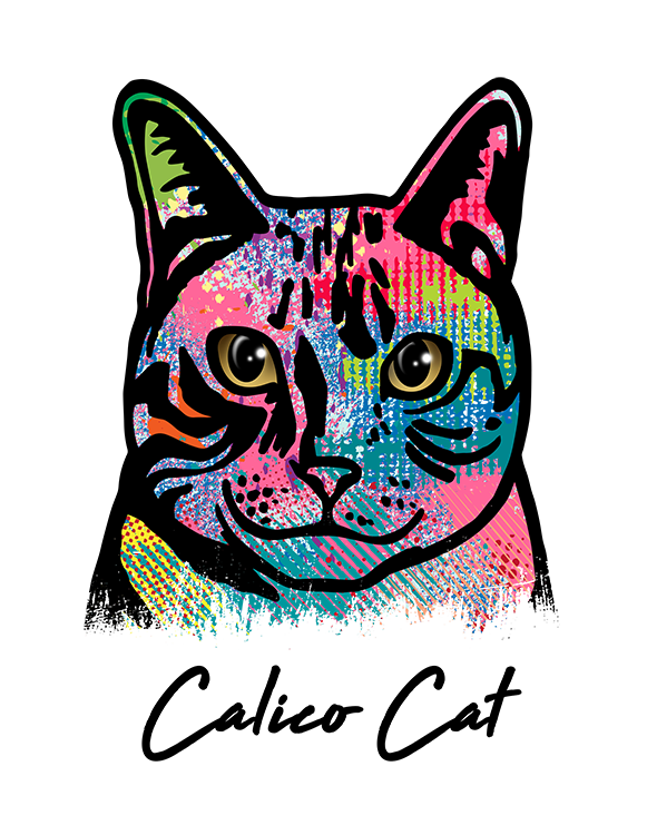 Calico Cat T Shirt Colorful Abstract