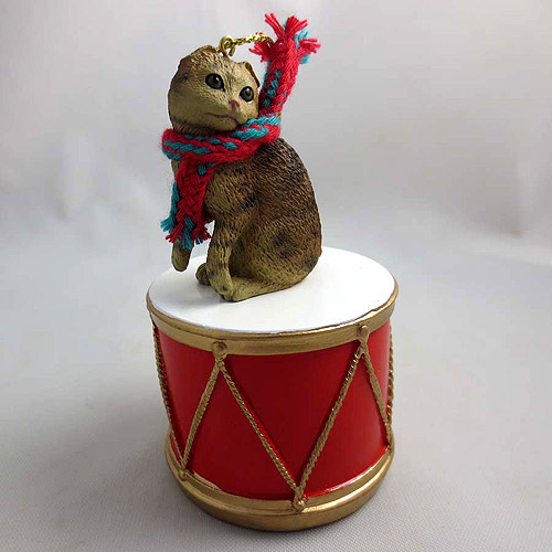 Little Drummer Scottish Fold Cat Christmas Ornament