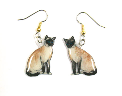 Siamese Cat Earrings Hand Painted Acrylic