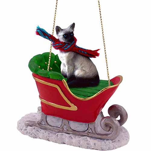 Siamese Cat Sleigh Ride Christmas Ornament