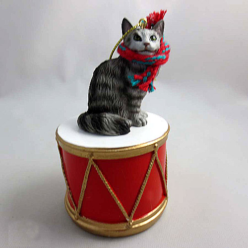 Little Drummer Tabby Cat Christmas Ornament