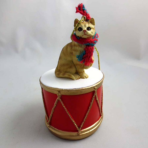 Little Drummer Tabby Cat Red Christmas Ornament