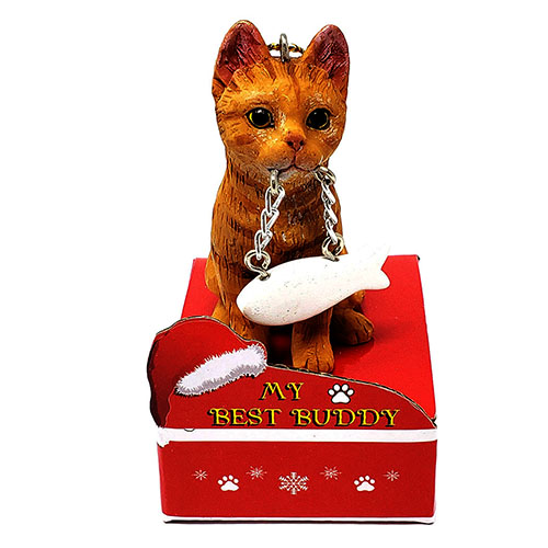 My Best Friend Orange Tabby Cat Christmas Ornament