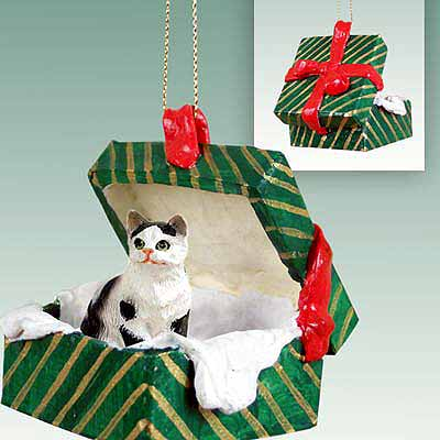 Tabby Cat Gift Box Christmas Ornament Black-White Shorthaired