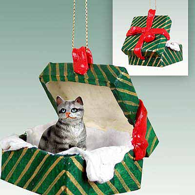 Tabby Cat Gift Box Christmas Ornament Silver Shorthaired