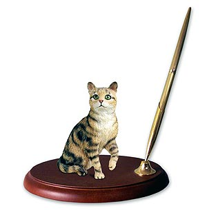 Tabby Cat Pen Holder (Brown)