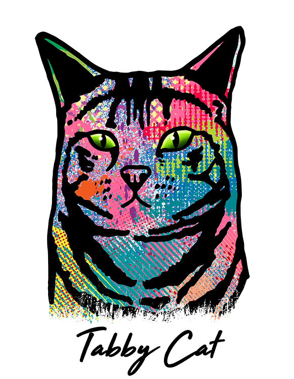 Tabby Cat T Shirt Colorful Abstract