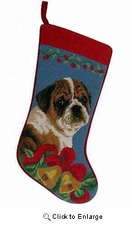 Bulldog Christmas Stocking