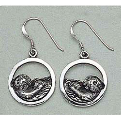 Sea Otter Earrings Sterling Silver