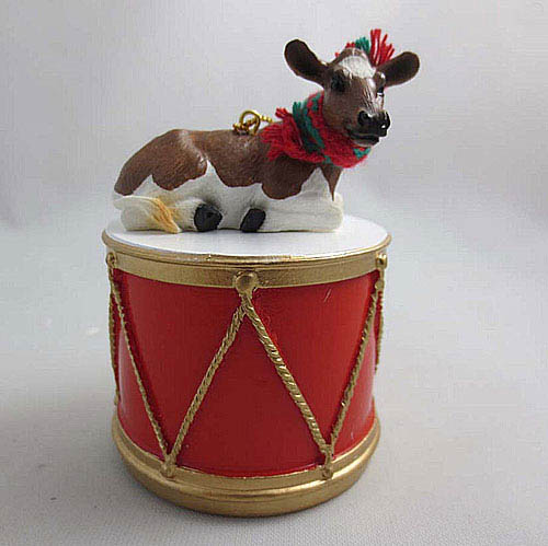 Little Drummer Guernsey Cow Christmas Ornament