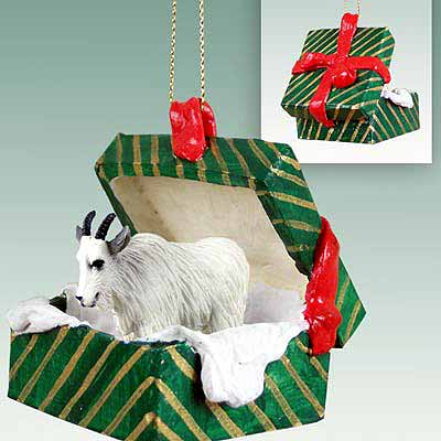 Mountain Goat Gift Box Christmas Ornament