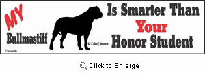 Bullmastiff Bumper Sticker Honor Student