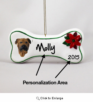 Bullmastiff Personalized Dog Bone Christmas Ornament