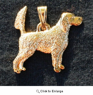 English Setter 24K Gold Plated Pendant Tail Up