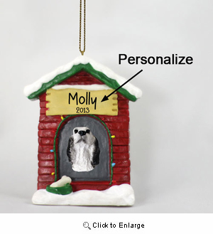 English Setter Personalized Dog House Christmas Ornament Belton Blue