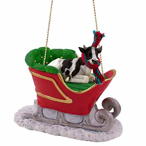 Holstein Bull Sleigh Ride Christmas Ornament
