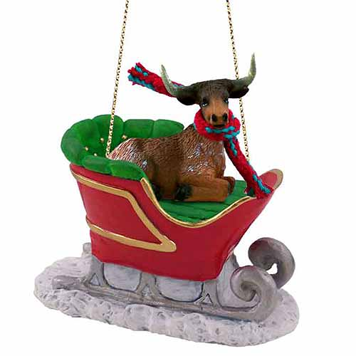 Long Horn Steer Sleigh Ride Christmas Ornament