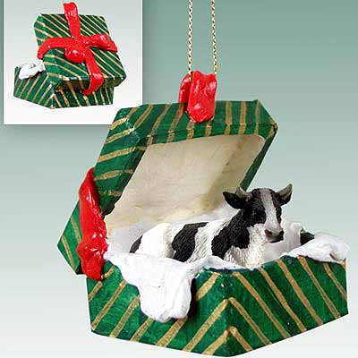 Holstein Bull Gift Box Christmas Ornament