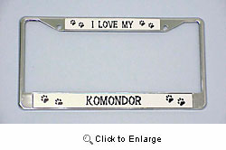 Komondor License Plate Frame - Chrome