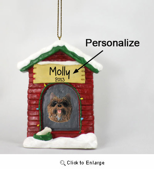 Cairn Terrier Personalized Dog House Christmas Ornament Brindle