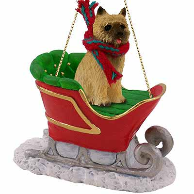 Cairn Terrier Sleigh Ride Christmas Ornament Red ...