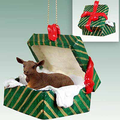 Goat Gift Box Christmas Ornament Brown