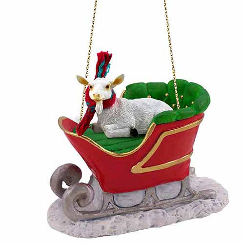 Goat Sleigh Ride Christmas Ornament White