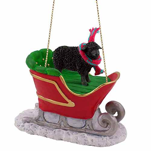Sheep Sleigh Ride Christmas Ornament Black