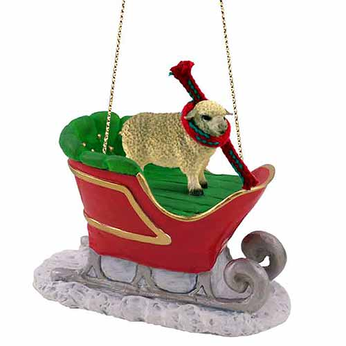 Sheep Sleigh Ride Christmas Ornament White
