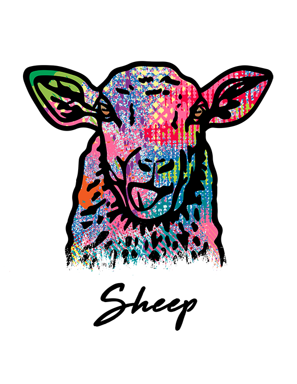 Sheep T Shirt Colorful Abstract