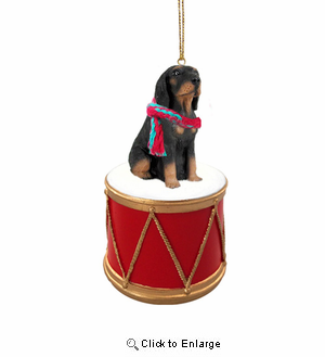 Little Drummer Coonhound Christmas Ornament