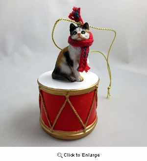 Little Drummer Calico Cat Christmas Ornament