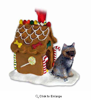 Cairn Terrier Gingerbread House Christmas Ornament Brindle
