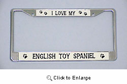 English Toy Spaniel License Plate Frame - Chrome