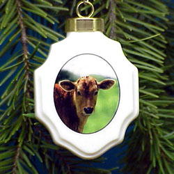 Cow Christmas Ornament Porcelain