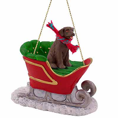 Chocolate Lab Sleigh Ride Christmas Ornament | Animalden.com