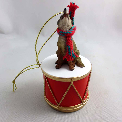 Little Drummer Coyote Christmas Ornament
