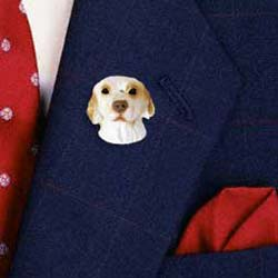Clumber Spaniel Pin Hand Painted Resin