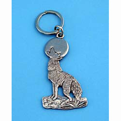 Pewter Coyote Keychain
