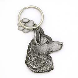 German Shepherd Keychain Pewter