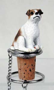 Jack Russell Terrier Bottle Stopper (Brown & White Smooth)