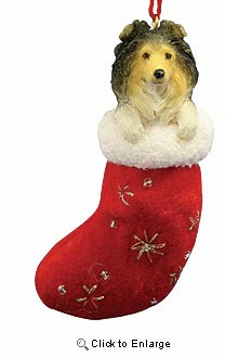 Shetland Sheepdog Christmas Stocking Ornament