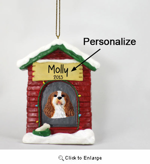 Cavalier King Charles Spaniel Personalized Dog House Christmas Ornament