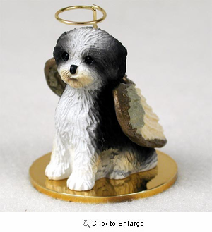 Shih Tzu Angel Ornament Black-White Sport Cut